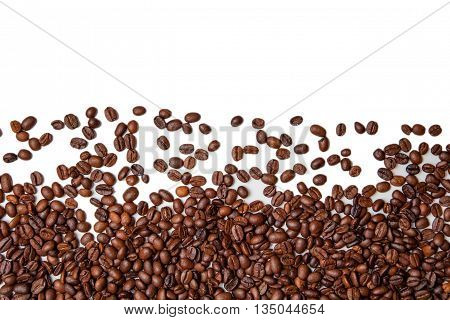 Roasted Coffee Beans Background Texture Isolated On White Background With Copy Space For Text. Top V