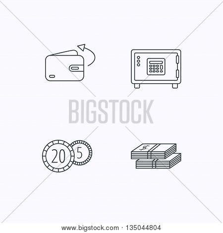 Coins, cash money and wallet icons. Safe box, send money linear signs. Flat linear icons on white background. Vector