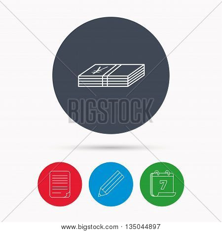 Cash icon. Yen money sign. JPY currency symbol. Calendar, pencil or edit and document file signs. Vector