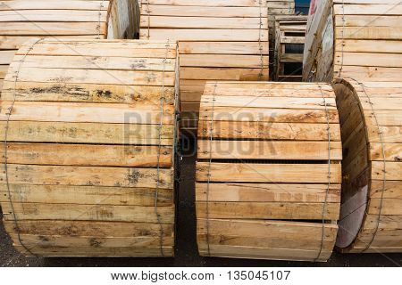 Electrical wire in wooden roll protection. Wire rolls.