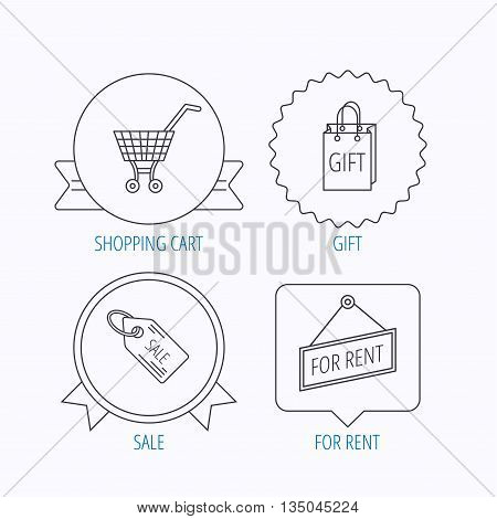 Shopping cart, gift bag and sale coupon icons. For rent label linear sign. Award medal, star label and speech bubble designs. Vector
