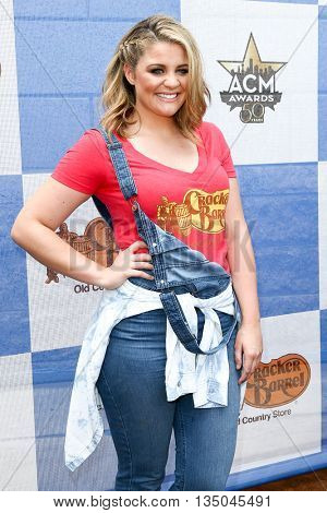 ARLINGTON, TX - APR 18: Singer Lauren Alaina attends the Cracker Barrel Old Country Store Country Checkers Challenge at Globe Life Park in Arlington on April 18, 2015 in Arlington, Texas.