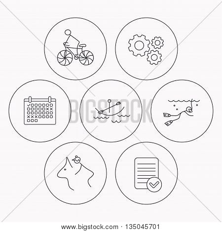 Diving, biking and horseback riding icons. Boating linear sign. Check file, calendar and cogwheel icons. Vector