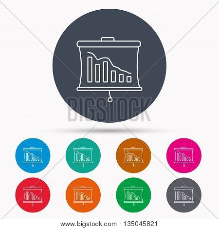 Statistic icon. Presentation board sign. Defaulted chart symbol. Icons in colour circle buttons. Vector
