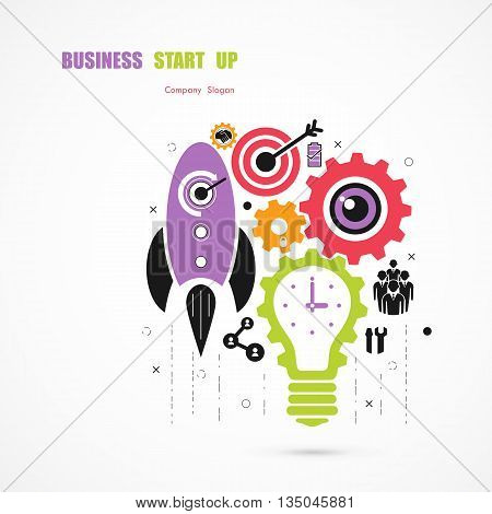 Business Start up icon concept.Light bulb icon and gear abstract vector icon design.Corporate business industrial creative icon symbol.Business icon and industrial icon concept.Vector illustration