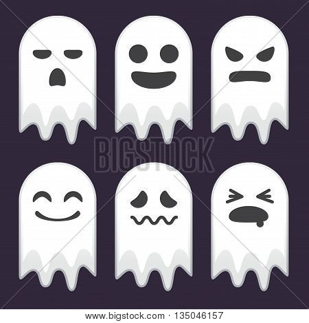 Vector stock of funny ghosts with various face expressions halloween icons and background