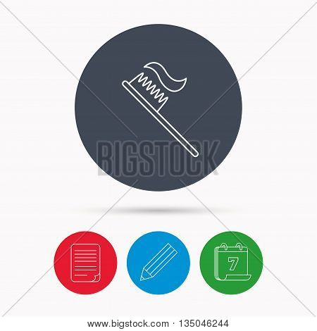 Toothbrush icon. Toothpaste sign. Dental oral cleaning symbol. Calendar, pencil or edit and document file signs. Vector