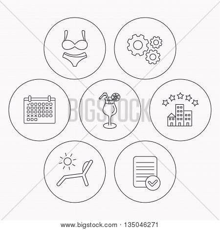 Lingerie, deck chair and cocktail icons. Hotel linear sign. Check file, calendar and cogwheel icons. Vector