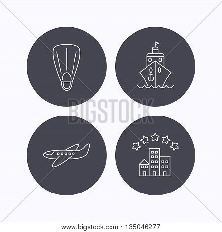 Cruise, flippers and airplane icons. Hotel linear sign. Flat icons in circle buttons on white background. Vector
