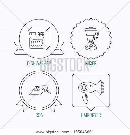 Dishwasher, hairdryer and mixer icons. Iron linear sign. Award medal, star label and speech bubble designs. Vector