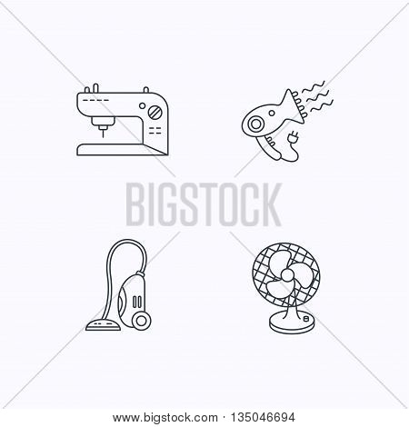 Ventilator, sewing machine and hairdryer icons. Ventilator linear sign. Flat linear icons on white background. Vector