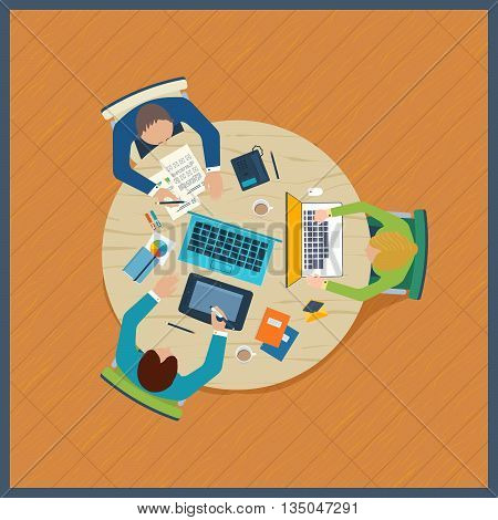 Flat design illustration concepts for business analysis on meeting, teamwork, financial report, project management and development. Top view banner