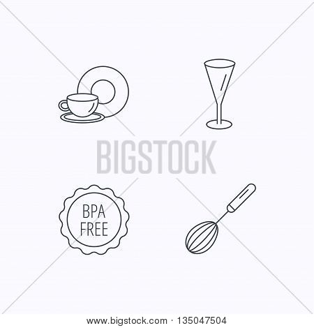 Food and drink, glass and whisk icons. BPA free linear sign. Flat linear icons on white background. Vector