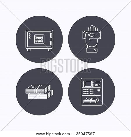 Give money, cash money and ATM icons. Safe box linear sign. Flat icons in circle buttons on white background. Vector