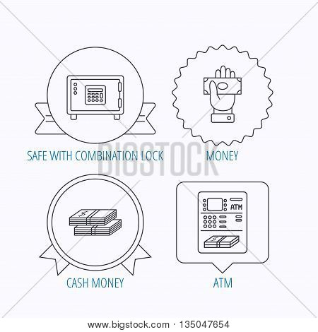 Give money, cash money and ATM icons. Safe box linear sign. Award medal, star label and speech bubble designs. Vector