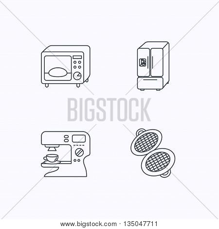 Microwave oven, waffle-iron and American style fridge icons. Coffee maker linear sign. Flat linear icons on white background. Vector