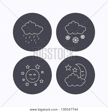 Weather, night and rain icons. Moon night and snow linear signs. Flat icons in circle buttons on white background. Vector