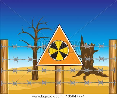 The Radioactive land for barbed wire.Vector illustration