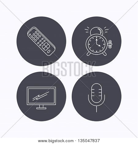 Microphone, alarm clock and TV remote icons. Widescreen TV linear sign. Flat icons in circle buttons on white background. Vector