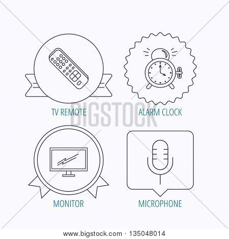 Microphone, alarm clock and TV remote icons. Widescreen TV linear sign. Award medal, star label and speech bubble designs. Vector
