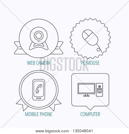 Computer, web camera and mobile phone icons. PC case linear sign. Award medal, star label and speech bubble designs. Vector