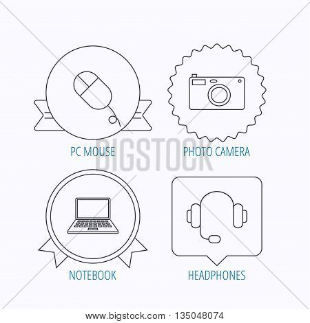 Photo camera, headphones and notebook laptop icons. PC mouse linear sign. Award medal, star label and speech bubble designs. Vector