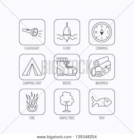 Maple tree, fishing float and hiking boots icons. Compass, flashlight and fire linear signs. Camping tent, fish and backpack icons. Flat linear icons in squares on white background. Vector