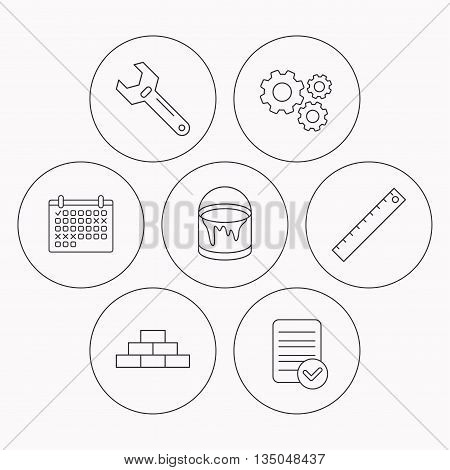 Brickwork, measurement and adjustable wrench icons. Bucket of paint linear sign. Check file, calendar and cogwheel icons. Vector