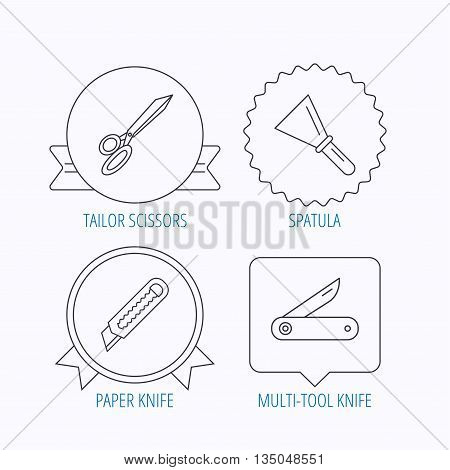 Paper knife, spatula and scissors icons. Multi-tool knife linear sign. Award medal, star label and speech bubble designs. Vector