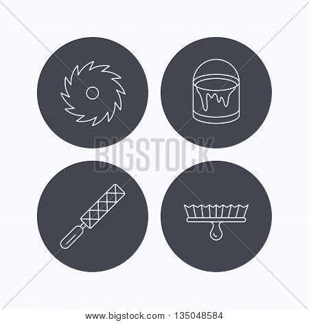 File tool, circular saw and brush tool icons. Bucket of paint linear sign. Flat icons in circle buttons on white background. Vector
