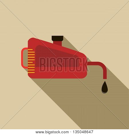 Engine oil icon in flat style with long shadow