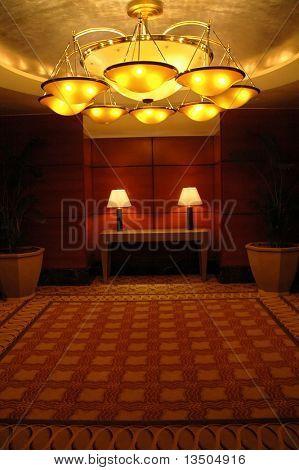 hotel ballroom and grand chandelier