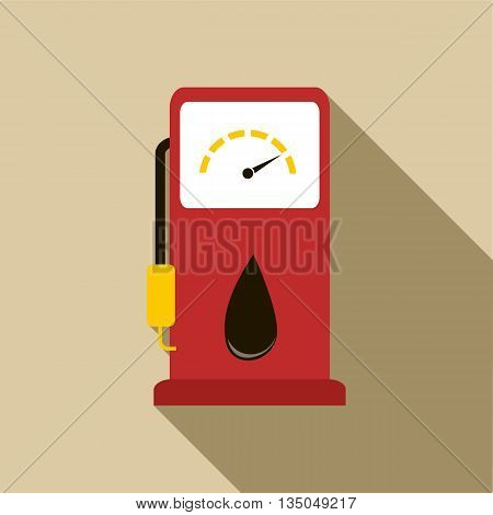 Gas station pump with fuel nozzle icon in flat style with long shadow