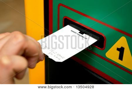 insert ticket to a machine
