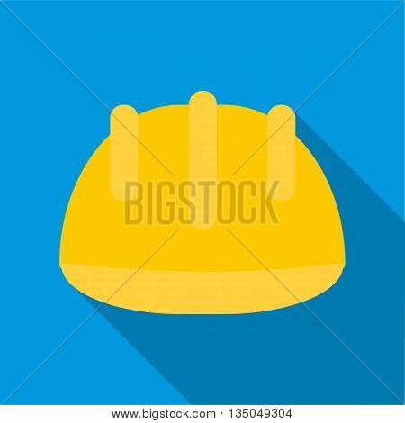 Safety yellow helmet icon in flat style with long shadow