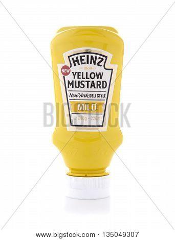 SWINDON UK - JUNE 3 2016: Heinz Yellow Mustard on a white background