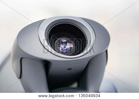 Close up the video conference camera lens