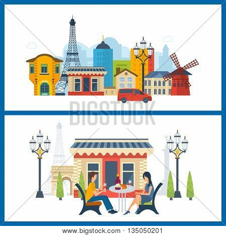 French Landmarks. Vector travel destinations icon set. Eiffel tower, Notre Dame in Paris, France. Loving man and woman sitting at a table in a cafe in Paris
