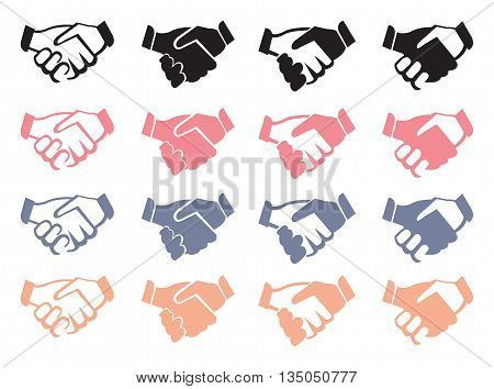Vector illustration of business handshake icons in four different designs and colors isolated on white background.