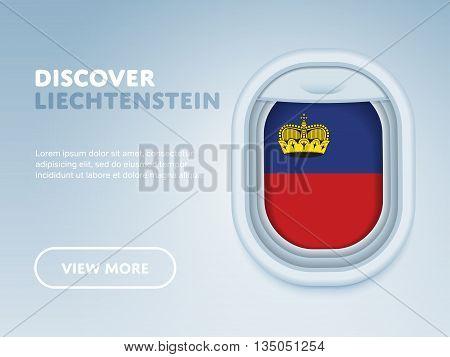 Flight to Liechtenstein traveling theme banner design for website, mobile app. Modern vector illustration.