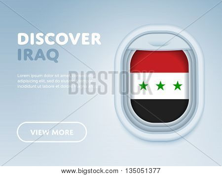 Flight to Iraq traveling theme banner design for website, mobile app. Modern vector illustration.