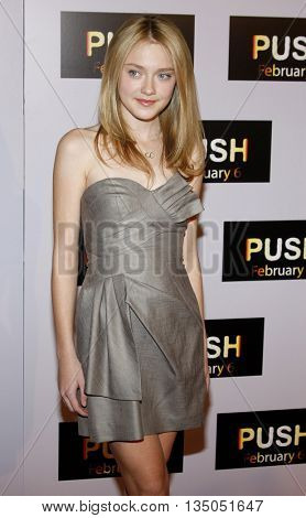 Dakota Fanning at the Los Angeles Premiere of 'Push' held at the Mann Village Theater in Westwood, USA on January 29, 2009.