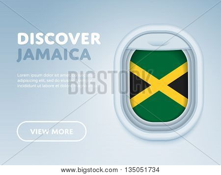 Flight to Jamaica traveling theme banner design for website, mobile app. Modern vector illustration.