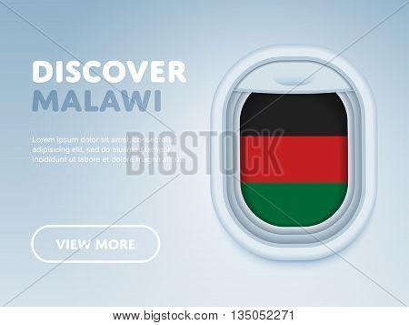 Flight to Malawi traveling theme banner design for website, mobile app. Modern vector illustration.
