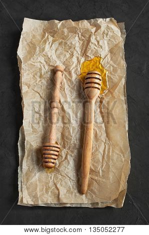 Honey And Wooden Dippers