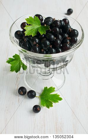 Black Currants In Glass Bowl