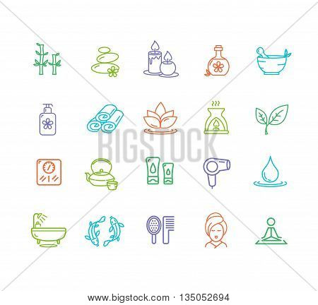 Spa Outline Color Icon Set Design Elements for Beauty Business, Website and Mobile Applications. Vector illustration