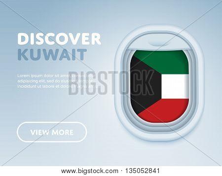 Flight to Kuwait traveling theme banner design for website, mobile app. Modern vector illustration.