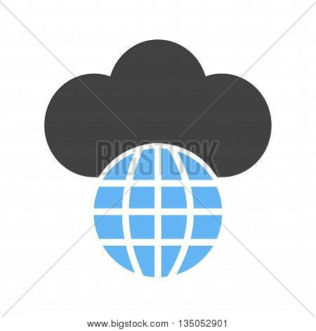 Cloud, global, technology icon vector image.Can also be used for data sharing. Suitable for mobile apps, web apps and print media.