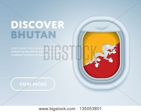 Flight to Bhutan traveling theme banner design for website, mobile app. Modern vector illustration.